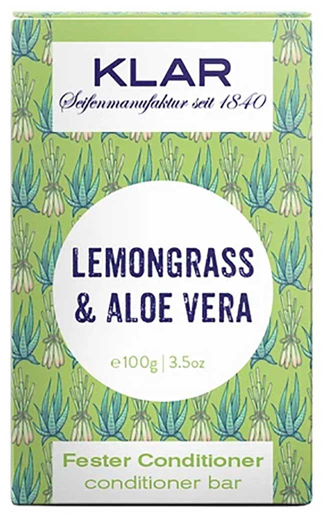 Klar's fester Conditioner Lemongrass & Aloe Vera beschwert die Haare nicht und ist auch für feines und schnell fettendes Haar geeignet. Aloe Vera spendet Feuchtigkeit, während Lemongrass das Haar entfettet. Der Conditioner sorgt für eine bessere Kämmbarkeit und einen schönen Glanz. Der Conditioner ist ideal in Kombination mit dem festen Shampoo