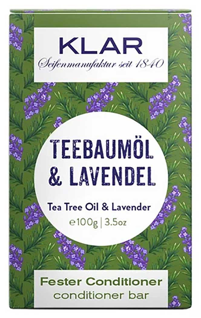 KLAR's fester Conditioner Teebaumöl Lavendel macht das Haar geschmeidig und beruhigt mit natürlichem Teebaumöl zeitgleich die Kopfhaut. Damit ist er die perfekte Ergänzung zum festen Anti-Schuppen Shampoo.