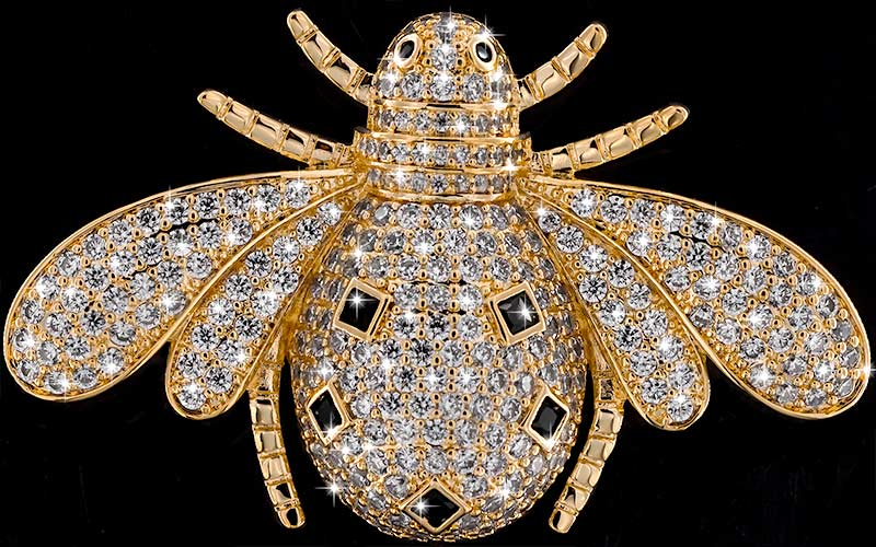 Brosche Käfer goldfarben mit schwarzen und vielen weissen Strass Steinen BR058 oben