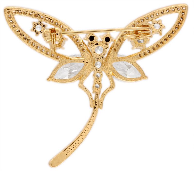 Brosche Libelle goldfarben und mit vielen weissen Strass Steinen BR016 unten
