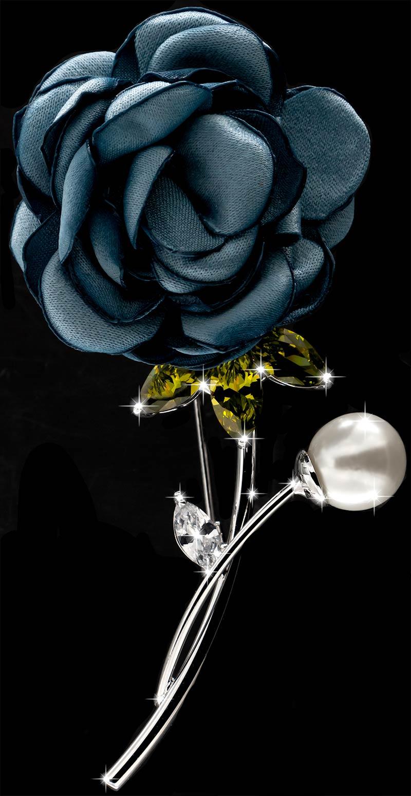 Brosche Rose silberfarben mit einer Perle, gelben und weissen Strass Steinen BR053 oben