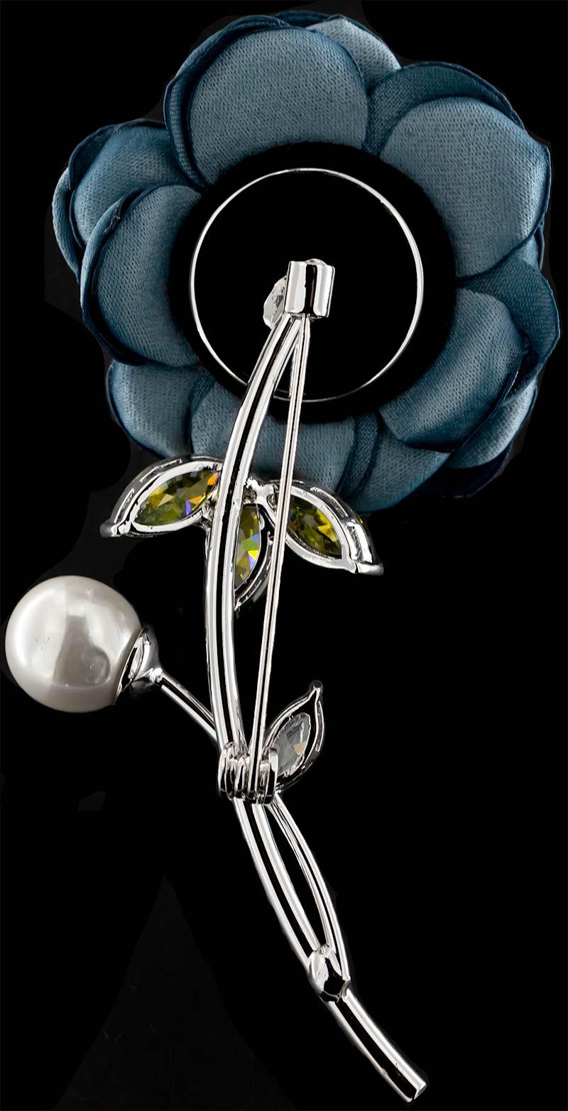 Brosche Rose silberfarben mit einer Perle, gelben und weissen Strass Steinen BR053 unten