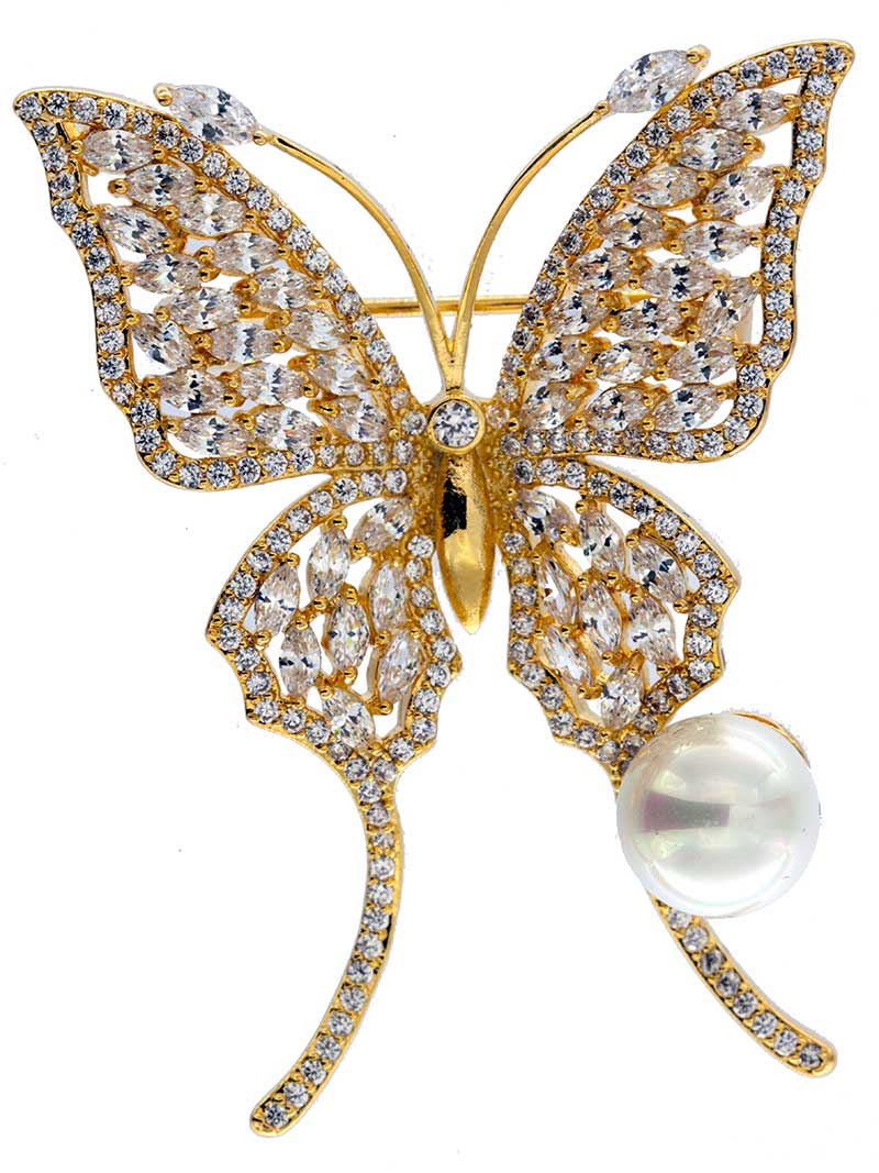 Brosche Schmetterling goldfarben und mit vielen weissen Strass Steinen BR023 oben