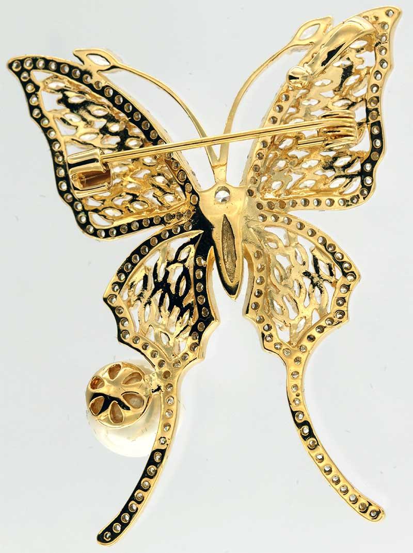 Brosche Schmetterling goldfarben und mit vielen weissen Strass Steinen BR023 unten