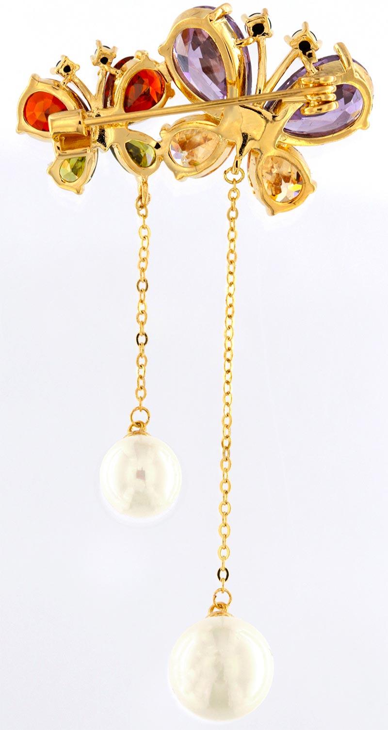 Brosche Schmeterling golfarben mit bunten Strass Steinen und weissen Perlen BR005 unten