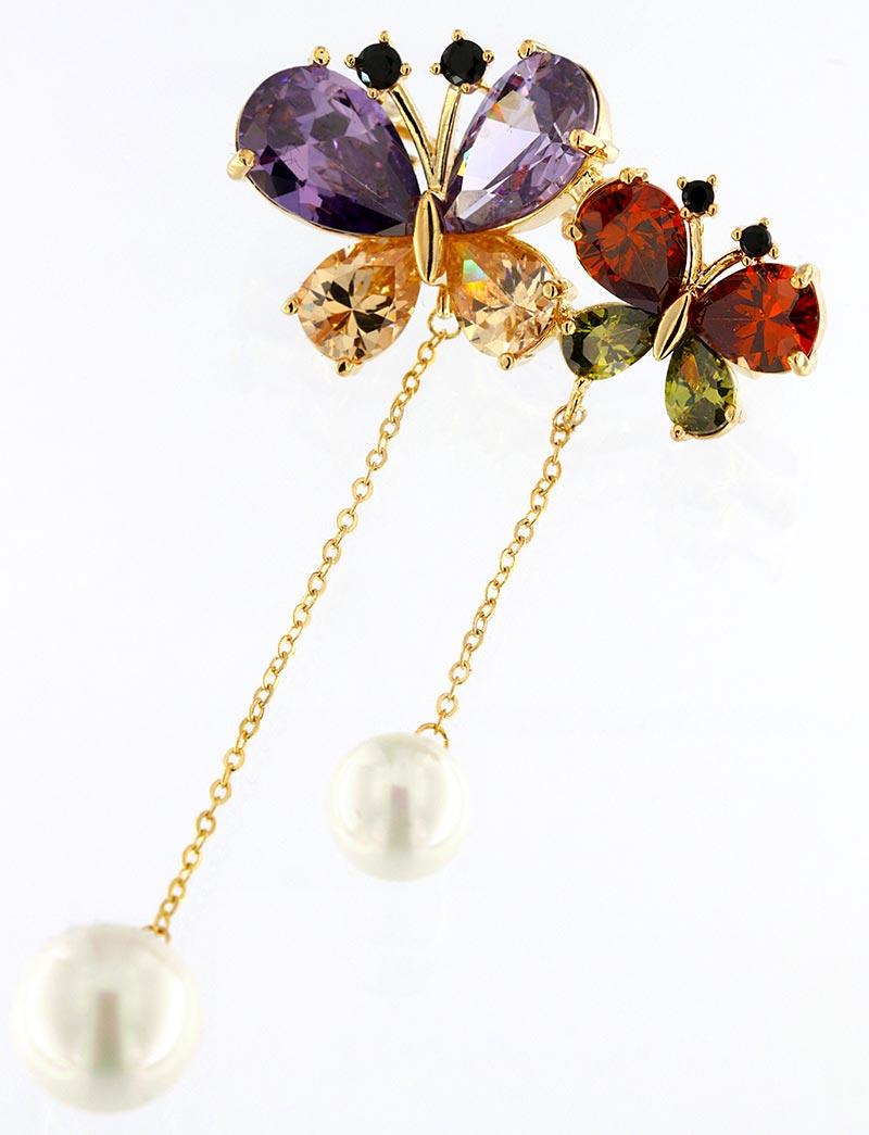 Brosche Schmeterling golfarben mit bunten Strass Steinen und weissen Perlen BR005 oben