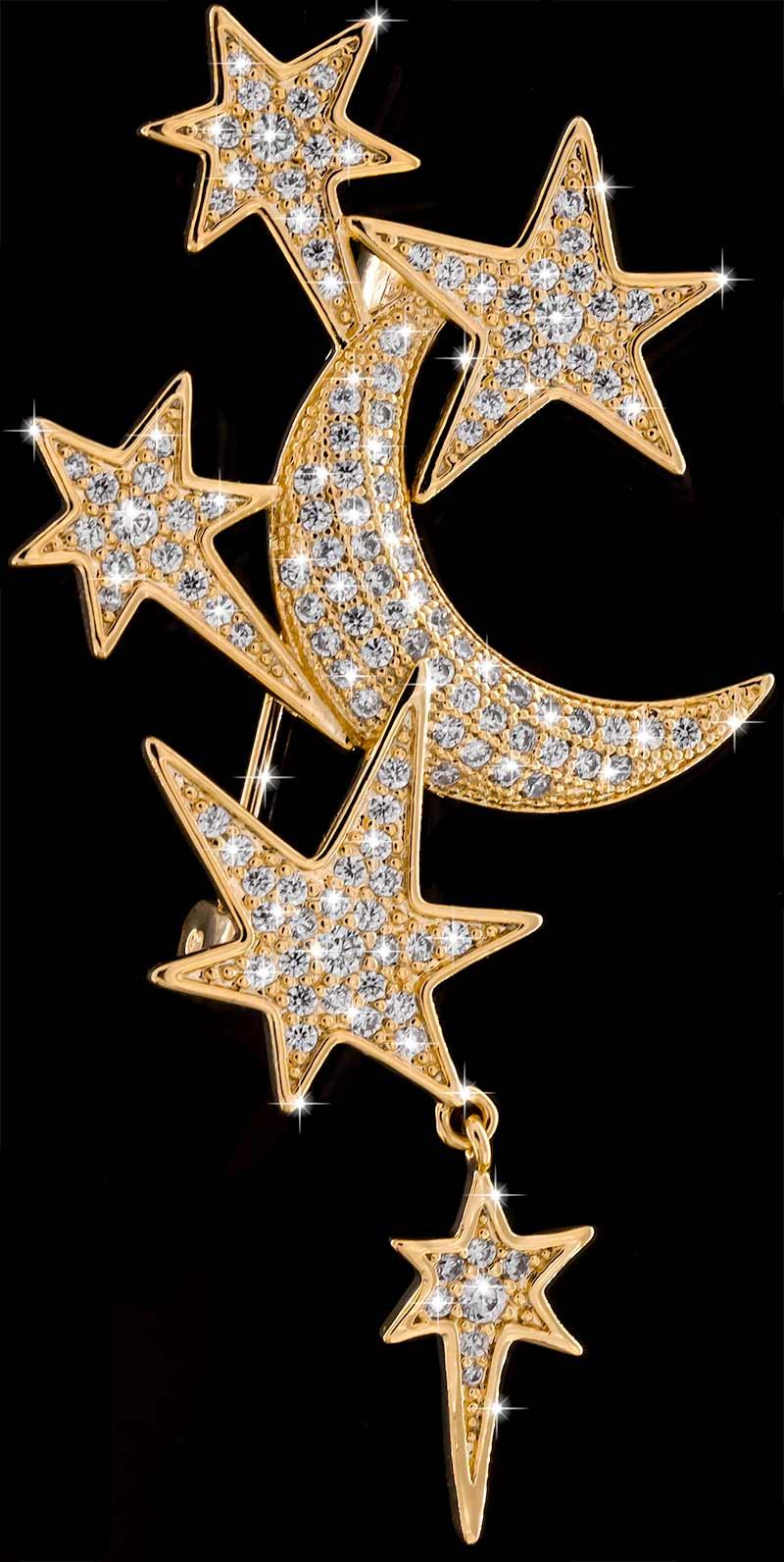 Brosche Mond und Sterne goldfarben mit vielen weissen Strass Steinen BR049 oben