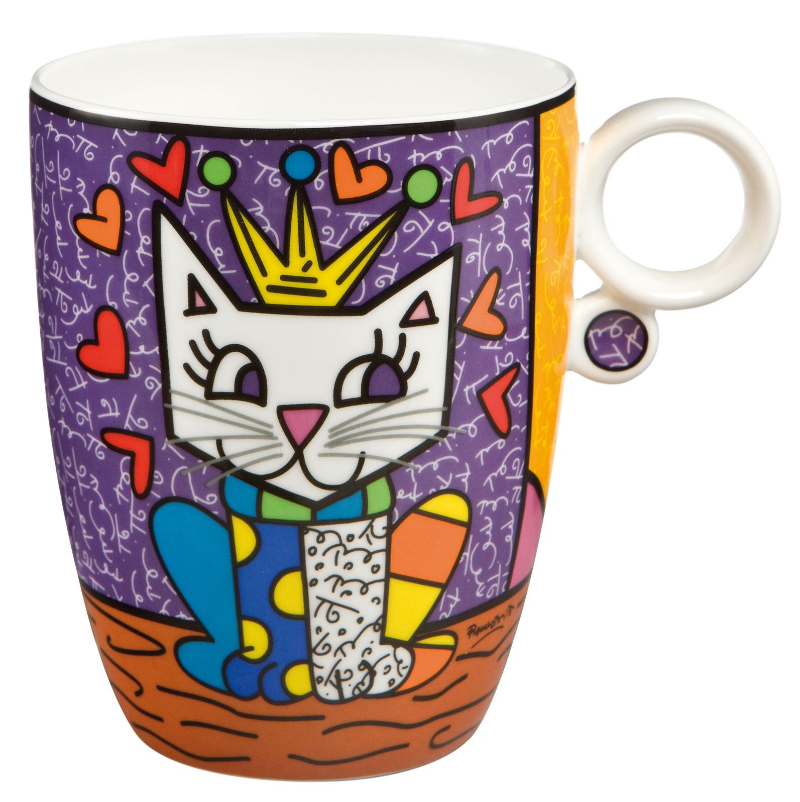 Die Objekte von Romero Britto sind in erster Linie den Themen Liebe, Freundschaft, Hoffnung und Freude gewidmet. Her Royal Highness - Künstlerbecher Spülmaschinengeeignet, doch um die Brillanz der Farben zu schonen, ist Spülen per Hand empfehlenswert.
