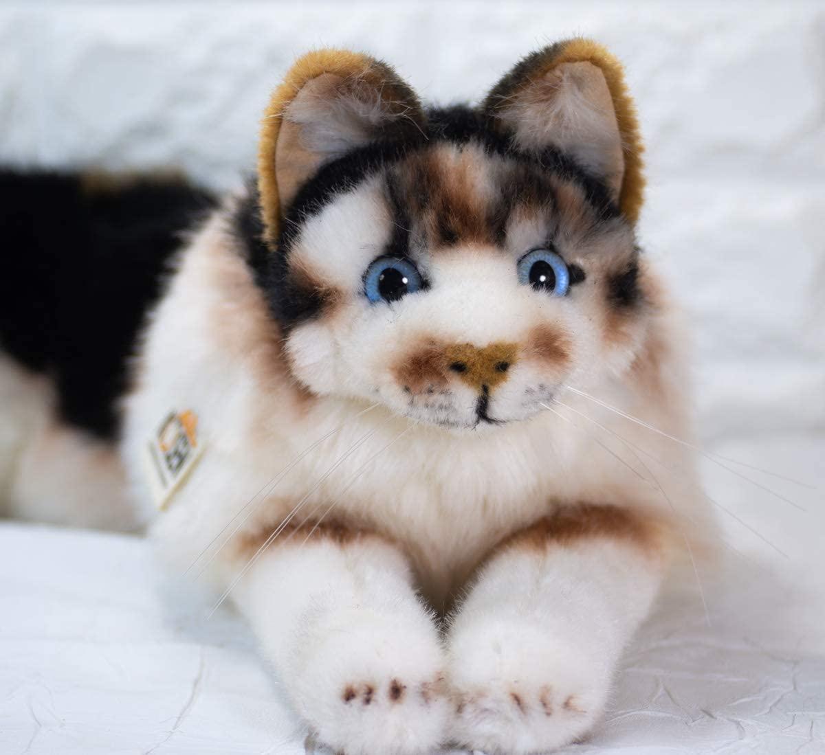 Kösener Katze 7380 Glückskatze schwarz Weiss braun liegend 69 cm Kopf