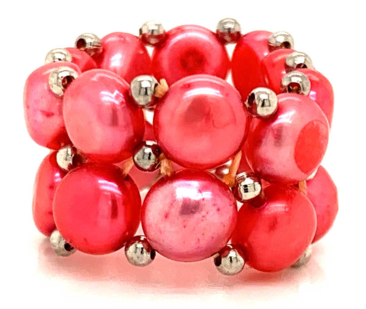 Süßwasser Perlenring Ring 2-reihig Koral Rot