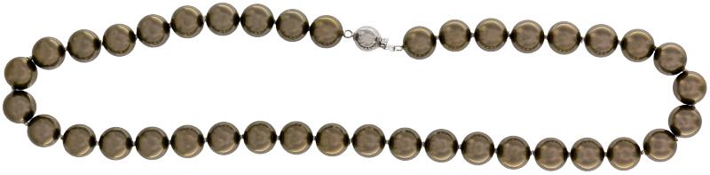 Perlmutt Braun-Grau Kette 46cm, ca. 10mm Perlengröße Collier Halskette Mother-of-Pearl MOP07