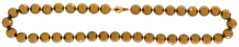 Perlmutt Gold Kette 46cm, ca. 10mm Perlengröße Collier Halskette Mother-of-Pearl MOP03