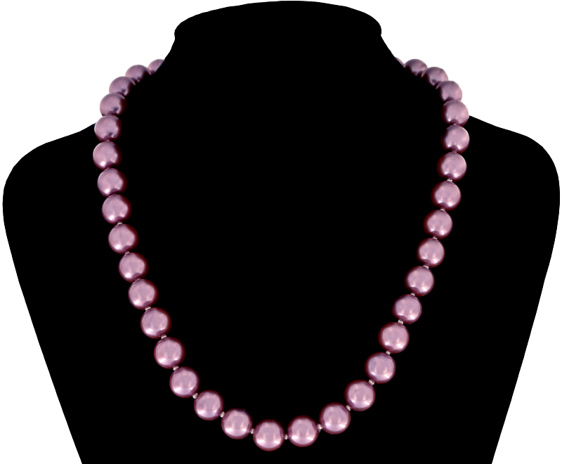 Perlmutt Magenta Kette 46cm, ca. 10mm Perlengröße Collier Halskette Mother-of-Pearl MOP05