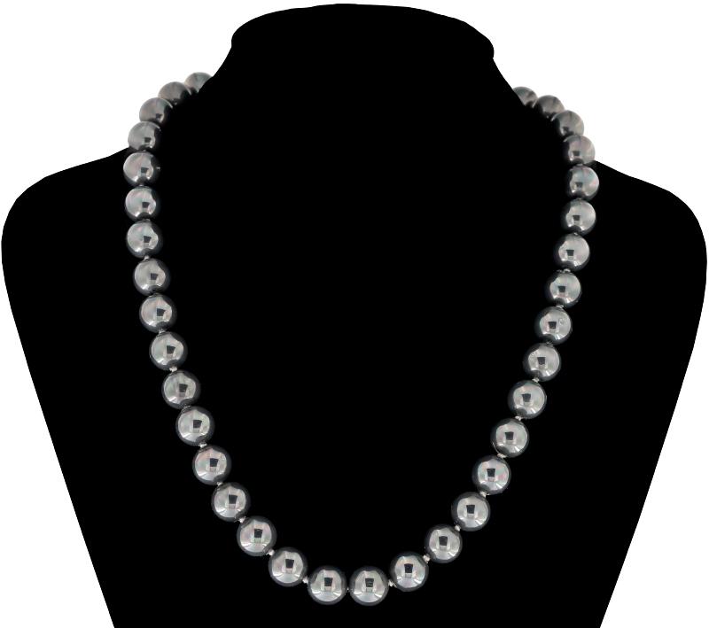 Perlmutt Anthrazit Kette 46cm, ca. 10mm Perlengröße Collier Halskette Mother-of-Pearl MOP06