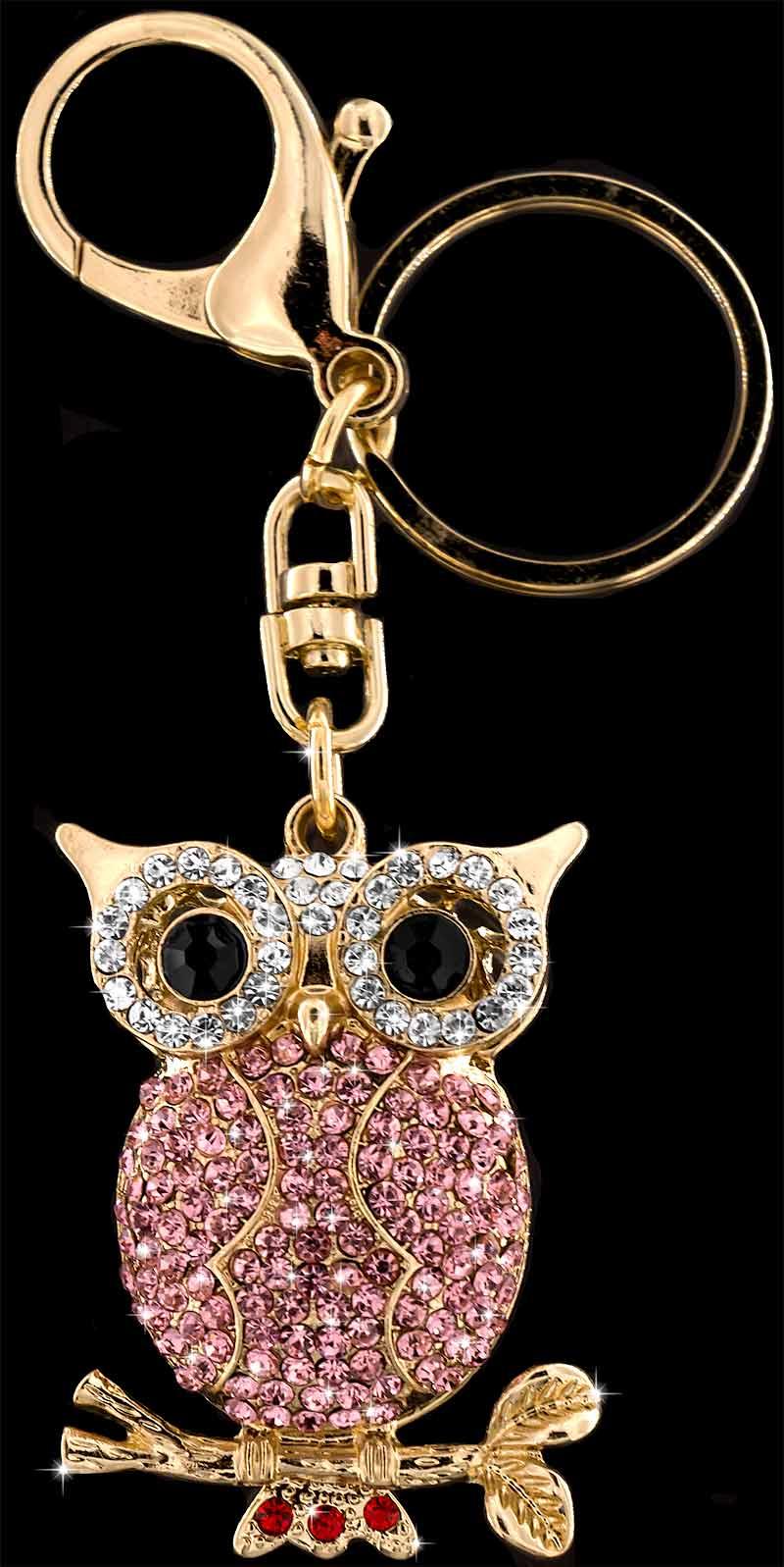 Anhänger Eule goldfarben mit vielen weissen, rosa und roten Strass Steinen Schlüsselanhänger Taschenanhänger AH08