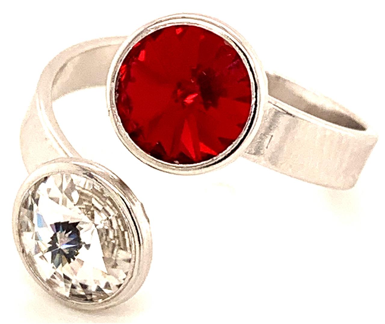 Silber Ring mit 2 Swarovski Crystal (1*Siam/1*Crystal Clear) 925 Silberfassung größe änderbar gesamt ca. 3,4 Gramm 17 ct handgearbeitet, rhodiniert, handegemacht in Italien AT0578RSC