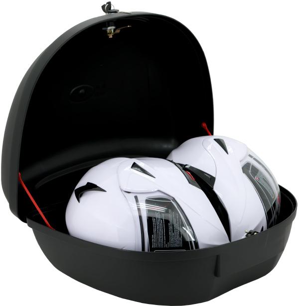 Razory grosses TopCase K48 TopCase für 2 Helme Vorne Rechts offen mit Helm