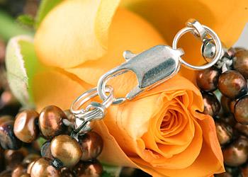 Süßwasser Zucht-Perlen-Kette -bronze/kupfer-