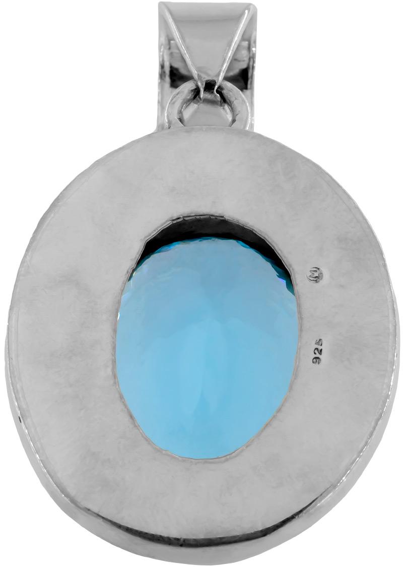 Blautopas Blue Topaz Anhänger in Swiss Blue Sehr Groß 925 Silberfassung gesamt ca. 35 Gramm 173ct Augenrein