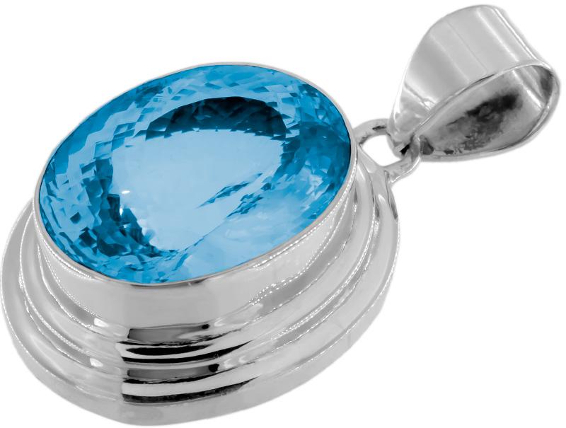 ein prunkvoller Anhänger mit einem großen, tropfenförmigen Blautopas (Blue Topaz) in Swiss Blue. Gesamtgewicht inkl. Fassung in 925 Sterling Silber ca. 35 Gramm oder 174 ct. Lichtdurchlässig gefasst. Selbstverständlich mit unserem Steinzertifikat. Gewöhnliche Behandlung Bestrahlung