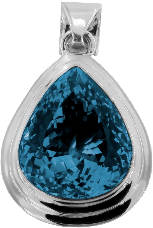 Blautopas Blue Topaz Anhänger in London Blue Sehr Groß 925 Silberfassung gesamt ca. 174 ct Augenrein