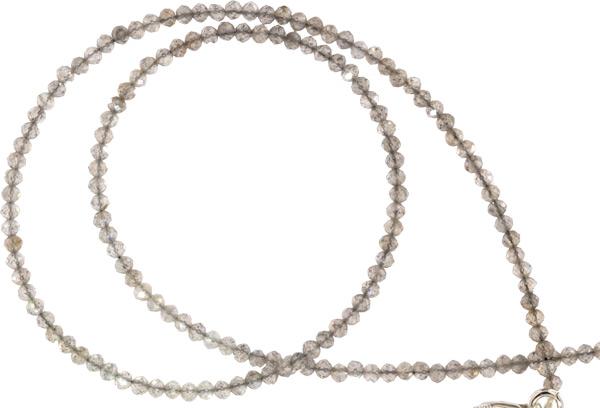 Spinell Kette ca. 45cm 1-2mm facettiert auf Schmuckdraht mit 925 Silber Karabiner-Verschluß