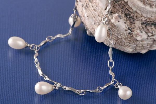 Silberarmband (925) mit Perlen P327 Weiß