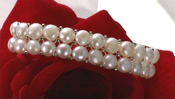 2-Reihig Zucht-Perlen-Armband weiß mit silberfarbenen Kugeln Zuchtperlen A201