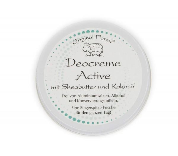 Deocreme 40ml, Active, sportlich-frisch, von Florex, frei von Aluminiumsalzen, Konservierungsmitteln