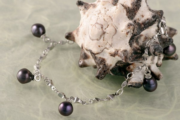 Silberarmband (925) mit Perlen P322 tahiti violett