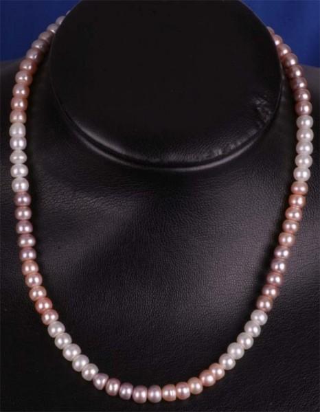 Perlenkette 3-farbig ca. 6-7mm Buttonshape Süsswasser-Perlen naturfarben K106