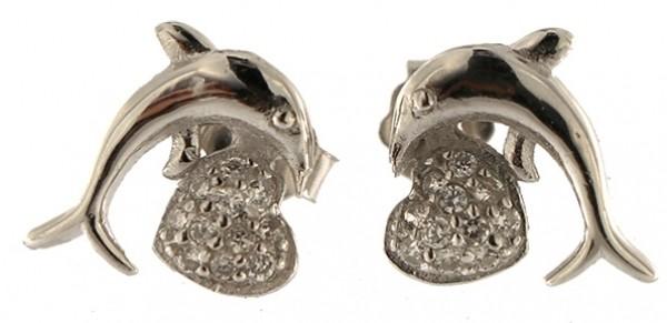 Ohrstecker Delphin Silber - 925 Sterling Silber - mit Strass Steinen OSDSS01