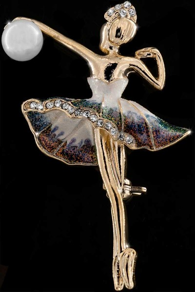 Brosche BR033 Tänzerin mit Perle goldfarben, viele weisse Strass Steine