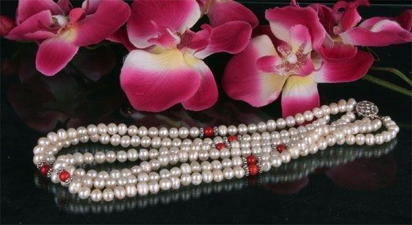Zucht-Perlen-Collier P902 3-reihig weiß mit Schaumkoralle Perlencollier 44cm NEU