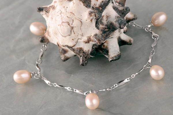 Silberarmband (925) mit Perlen P326 Lachs Orange