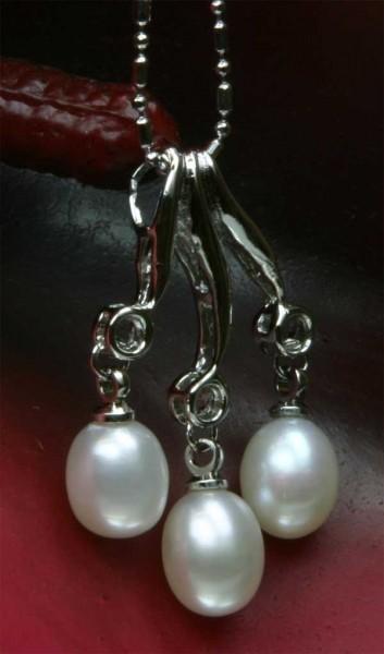 Echtes Exklusives Zucht-Collier 3-Perlen 18KGP Weiß P503