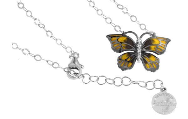 Halskette mit Schmetterling Anhänger 2.0cm Gelb in 925 Sterling Silber Rhodiniert mit Zirkonia ZCL86