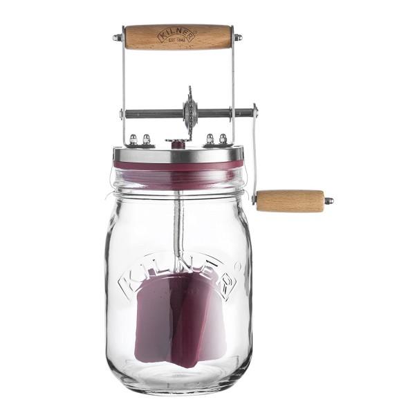 Kilner 0025.352 Butter Fass 1 Liter glas transparent Butterfass mit Drehkurbel Butter-Maschine Butte