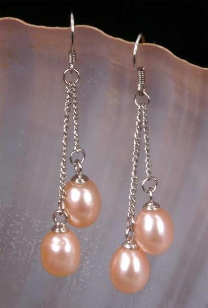 Doppelte Süßwasser Zucht-Perlen-Ohringe (925Silber) Rosa P435
