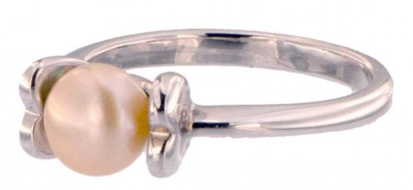 Damen Ring Perlenring 1 Perle ca. 6-7mm, Rose Orange, handgearbeitet, versilbert, rhodiniert P224