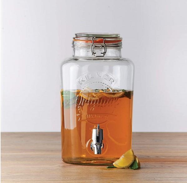 Kilner Bügelverschluss Getränkespender, 5 Liter, Glas/Edelstahl/Kunststoff, Maße: 25,4 x 18,2 x 31,5