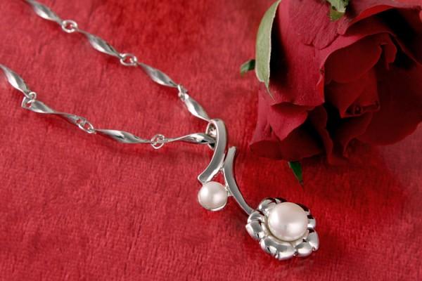 Perlenkette Süßwasserzuchtperle versilbert rhodiniert Weiß