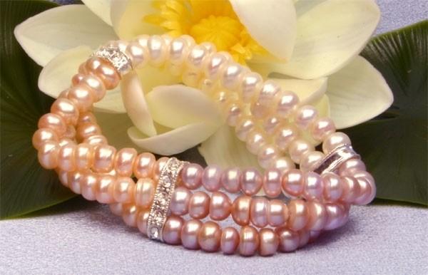 3-Reihig Zuchtperlen Armband 3-reihig, 3-farbig mit Strass Steinen Süßwasser-Perlen A301
