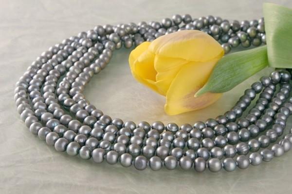 Echtes 5-Reihiges Perlen Collier aus Süsswasser Perlen Stella Silberfarben C02