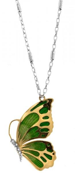 Halskette mit Schmetterling Anhänger 3.2cm grün-gold in 925 Sterling Silber Rhodiniert mit Zirkonia