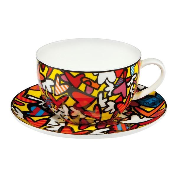Goebel Romero Britto - Hearts Jumbo 0,5l Tee-/Cappuccinotasse 66452531 Fine Bone China