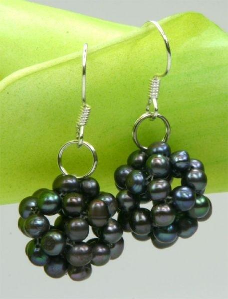Ohrringe Beerenform Tahiti Schwarz-Violett Süsswasser Perlen 925 Silber O104 NEU