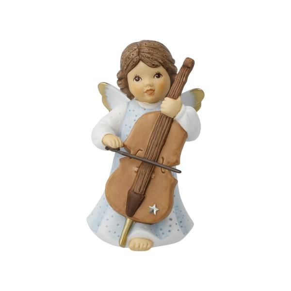 "Schutzengel Goebel Nina & Marco ""Cello Musik"" 11750711 Bunt Porzellan Dekoriert mit echten Swarovski"