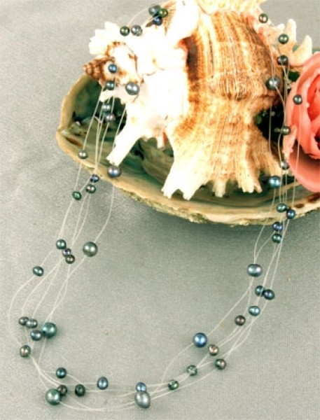 Perlenkette 5-Reihig P907 Filigran Violett Schwarz ca. 45cm Perlen auf Nylon NEU