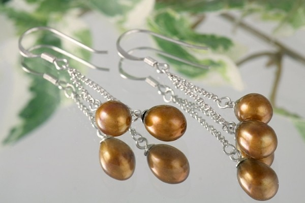 Doppelte Süßwasser Zucht-Perlen-Ohrringe (925Silber) Gold-Braun-Kupfer P421